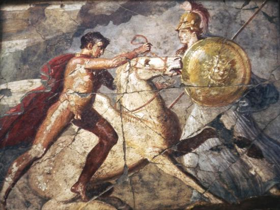 Bellerophon and Pegasus, Roman Wallpainting from Pompeii, 1st century-Unknown-Giclee Print