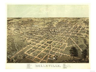 Belleville, Illinois - Panoramic Map-Lantern Press-Art Print