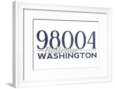 Bellevue, Washington - 98004 Zip Code (Blue)-Lantern Press-Framed Art Print