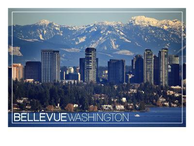 Bellevue, Washington - Lake Washington and Skyline-Lantern Press-Art Print