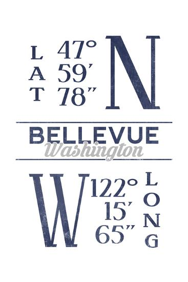 Bellevue, Washington - Latitude and Longitude (Blue)-Lantern Press-Art Print