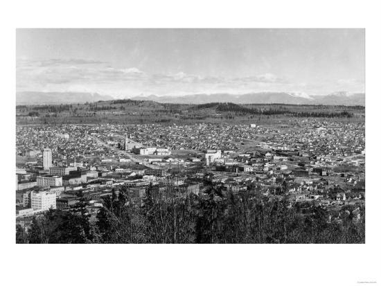 Bellingham, WA Town View from Sehome Hill Photograph No.1 - Bellingham, WA-Lantern Press-Art Print