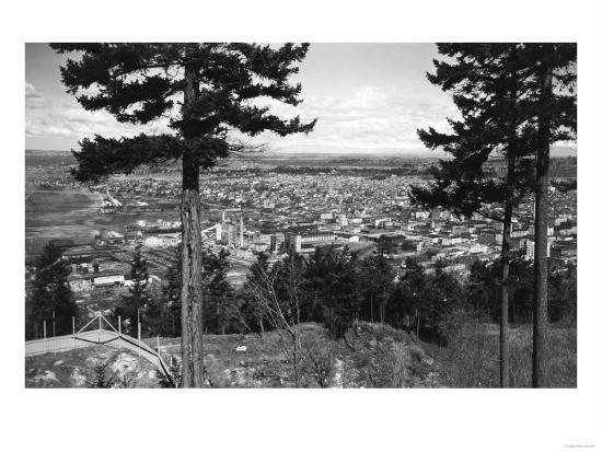 Bellingham, WA Town View from Sehome Hill Photograph No.2 - Bellingham, WA-Lantern Press-Art Print