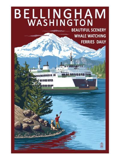 Bellingham, Washington - Ferry Scene-Lantern Press-Art Print