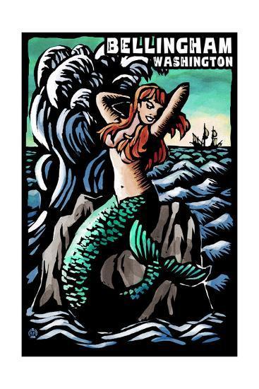Bellingham, Washington - Mermaid - Scratchboard-Lantern Press-Art Print