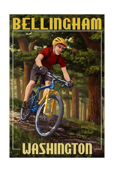 Bellingham, Washington - Mountain Biker in Trees-Lantern Press-Art Print