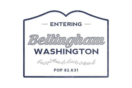 Bellingham, Washington - Now Entering (Blue)-Lantern Press-Art Print