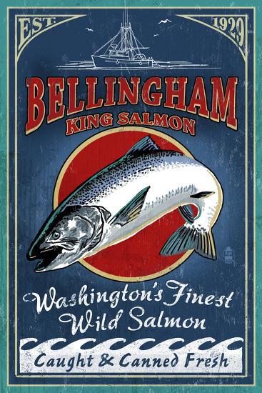 Bellingham, Washington - Salmon Vintage Sign-Lantern Press-Wall Mural
