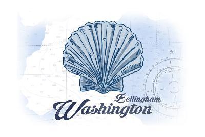 Bellingham, Washington - Scallop Shell - Blue - Coastal Icon-Lantern Press-Art Print