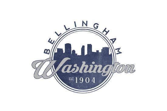 Bellingham, Washington - Skyline Seal (Blue)-Lantern Press-Art Print