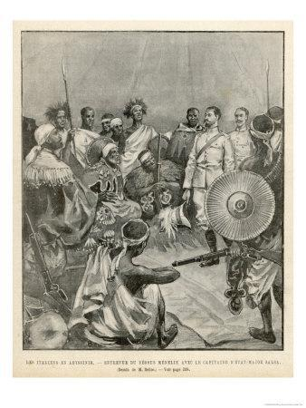 The Meeting of Menelik One of Ethiopia's Greatest Emperors with Major Salsa of the Italian Envoy