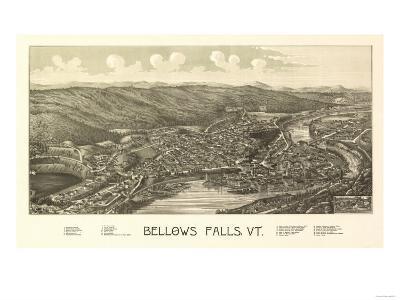Bellows Falls, Vermont - Panoramic Map-Lantern Press-Art Print