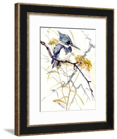 Belted Kingfisher 8-Suren Nersisyan-Framed Art Print