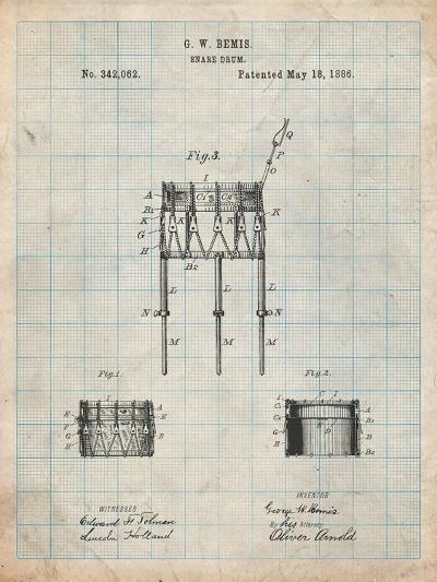 Bemis Marching Snare Drum and Stand Patent-Cole Borders-Art Print