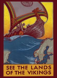 See the Land of the Vikings - Map of Scandinavia - Viking Ship by Ben Blessum