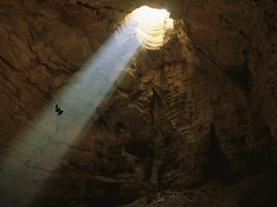 Ben Caddell Descends Majlis Al Jinn Cave-Stephen Alvarez-Photographic Print