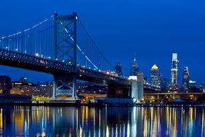Ben Franklin Bridge at dusk, Philadelphia, Pennsylvania, USA