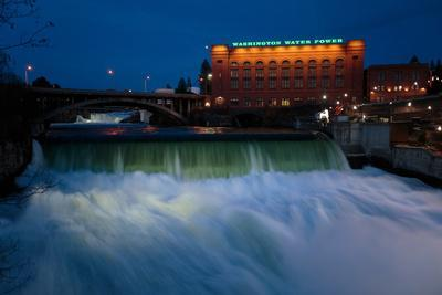 Spokane Falls At High Spring Flow Near Dwtn Spokane, WA Seen From Near Monroe Street Bridge At Dusk