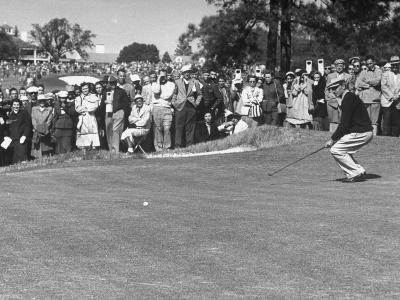 "Ben Hogan Applying ""Body English"" after Putting on 7Th, But Ball Went Foot Past Hole and Took Par--Premium Photographic Print"