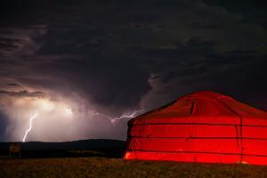 A Lightning Storm Builds over a Ger on the Mongolian Steppe by Ben Horton