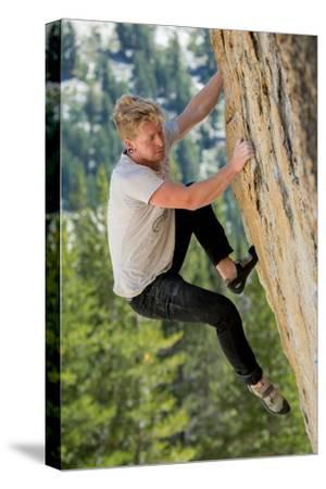A Man Climbs a Boulder in Tuolumne Meadows