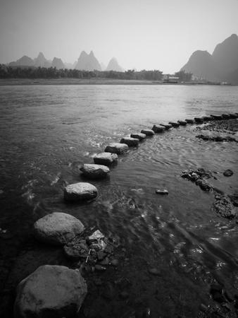 A Stone Pathway Crosses the River in Guilin, China