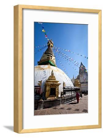 Kathmandu, Nepal: Prayer Flags Above Swayambhunath Stupa