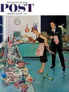 """""""After Party Clean-up,"""" Saturday Evening Post Cover, January 2, 1960 by Ben Kimberly Prins"""