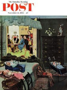 """""""Baby Bridge Party"""" Saturday Evening Post Cover, November 24, 1956 by Ben Kimberly Prins"""