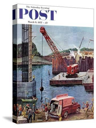 """Bridge Construction"" Saturday Evening Post Cover, March 9, 1957"