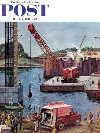 """Bridge Construction"" Saturday Evening Post Cover, March 9, 1957"