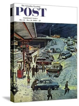 """Commuter Station Snowed In,"" Saturday Evening Post Cover, December 24, 1960"