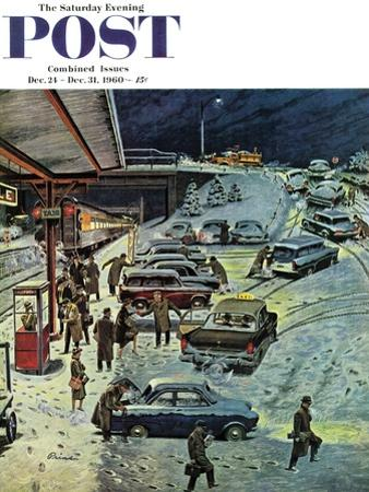 """""""Commuter Station Snowed In,"""" Saturday Evening Post Cover, December 24, 1960"""