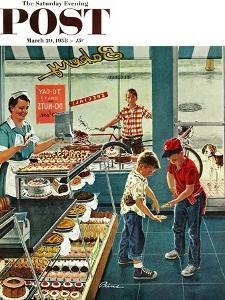 """""""Doughnuts for Loose Change"""" Saturday Evening Post Cover, March 29, 1958 by Ben Kimberly Prins"""