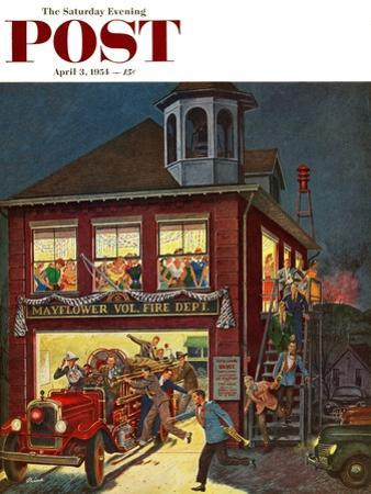"""Fireman's Ball"" Saturday Evening Post Cover, April 3, 1954"