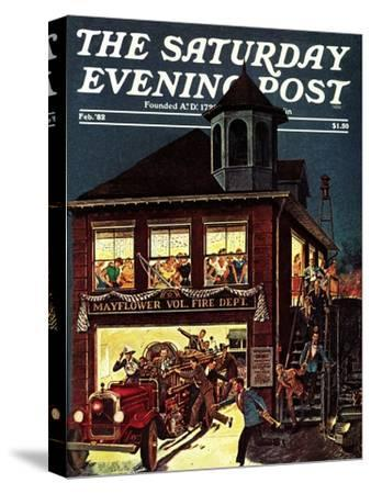 """Fireman's Ball,"" Saturday Evening Post Cover, February 1, 1982"
