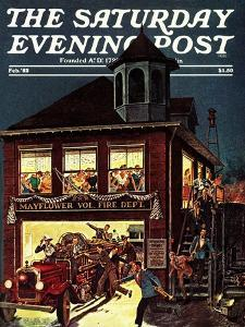 """""""Fireman's Ball,"""" Saturday Evening Post Cover, February 1, 1982 by Ben Kimberly Prins"""