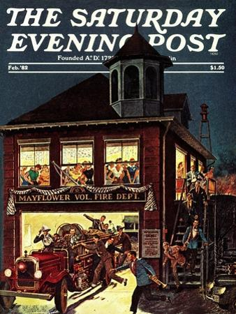 """""""Fireman's Ball,"""" Saturday Evening Post Cover, February 1, 1982"""