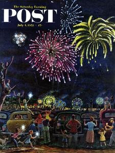 """""""Fireworks"""" Saturday Evening Post Cover, July 4, 1953 by Ben Kimberly Prins"""