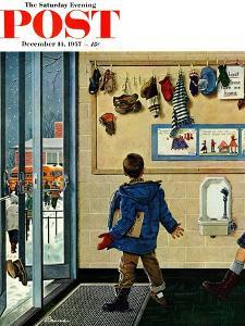 """""""Lost His Mitten"""" Saturday Evening Post Cover, December 14, 1957 by Ben Kimberly Prins"""