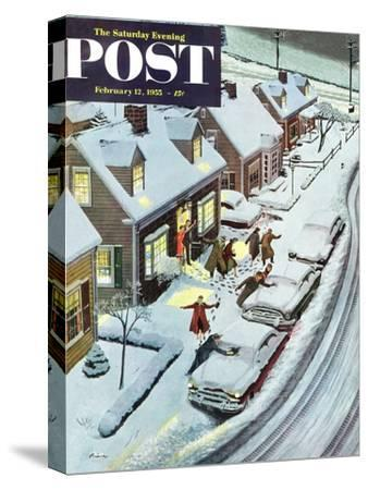 """Party After Snowfall"" Saturday Evening Post Cover, February 12, 1955"