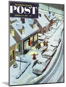 """""""Party After Snowfall"""" Saturday Evening Post Cover, February 12, 1955 by Ben Kimberly Prins"""