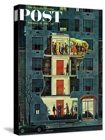 """Party Holding Up the Elevator,"" Saturday Evening Post Cover, February 25, 1961"