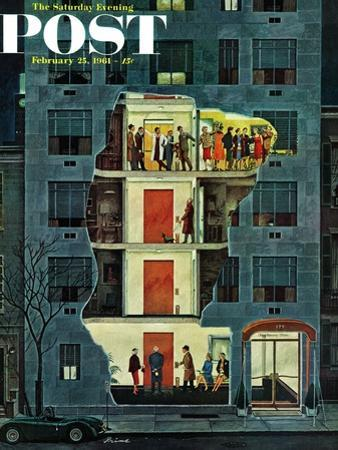 """""""Party Holding Up the Elevator,"""" Saturday Evening Post Cover, February 25, 1961 by Ben Kimberly Prins"""