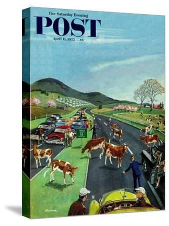 """Slow Mooving Traffic"" Saturday Evening Post Cover, April 11, 1953"