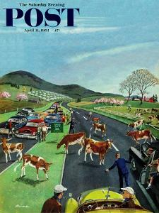"""""""Slow Mooving Traffic"""" Saturday Evening Post Cover, April 11, 1953 by Ben Kimberly Prins"""