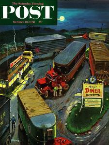"""""""Truck Stop Diner"""" Saturday Evening Post Cover, October 10, 1953 by Ben Kimberly Prins"""