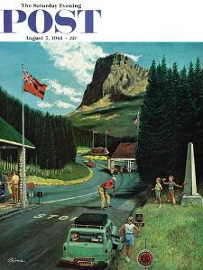"""""""U.S./Canadian Border at Waterton-Glacier,"""" Saturday Evening Post Cover, August 5, 1961 by Ben Kimberly Prins"""