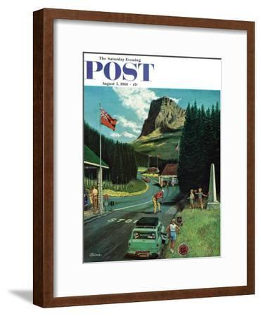 """""""U.S./Canadian Border at Waterton-Glacier,"""" Saturday Evening Post Cover, August 5, 1961"""