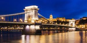 Chain Bridge and Buda Castle at Night, UNESCO World Heritage Site, Budapest, Hungary, Europe by Ben Pipe